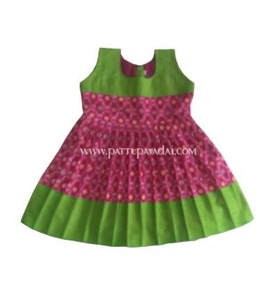 Ikkat Frock Pink and Green