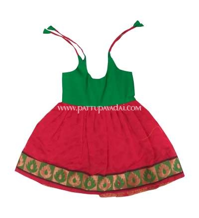 Just Born Chanderi Frock Red and Green
