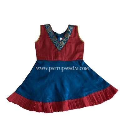Online just born Knot Type Frock Peacock Blue