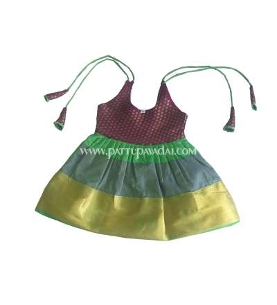 Just Born Pattu Frock Magenta and Green
