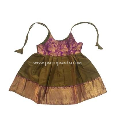 Just Born Pattu Frock Olive Green