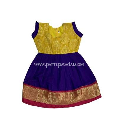 Buy Online Just Born Pattu Frock Violet and Yellow
