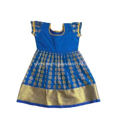 Just Born Pure Silk Frock Blue only at pattupavadai.com