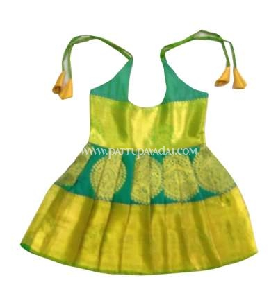 Just Born Pure Silk Frock Green and Golden