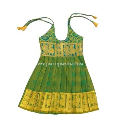 Shop Online Just Born Silk Frock Green only at pattupavadai.com