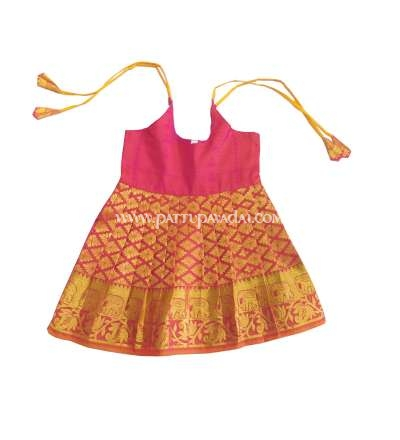 Just Born Silk Frock Pink and Golden