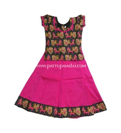Kalamkari Black and Pink Pavadai