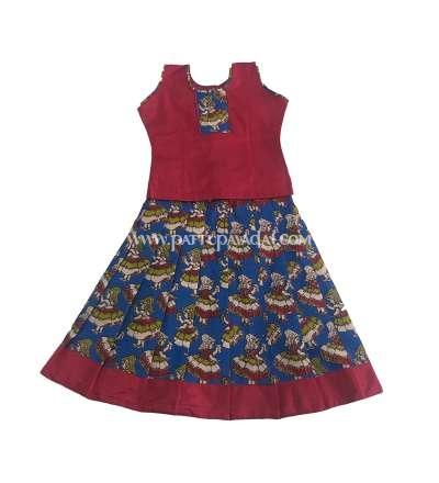 Buy Kalamkari Cotton Pavadai Blue and Maroon