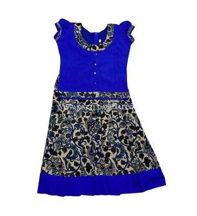 Buy Kalamkari Cotton Pavadai Sandal and Blue