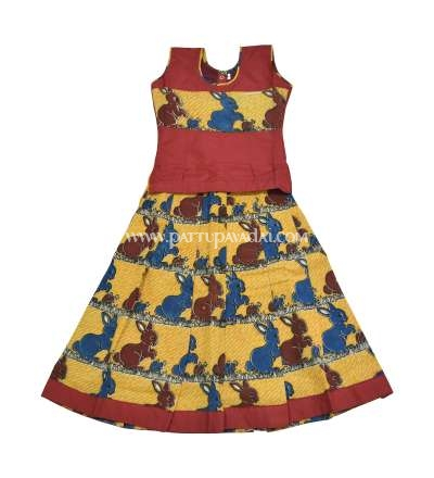 Kalamkari Cotton Pavadai Yellow and Maroon