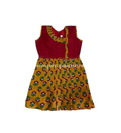 Buy Kalamkari Frock Mustard and Maroon Online