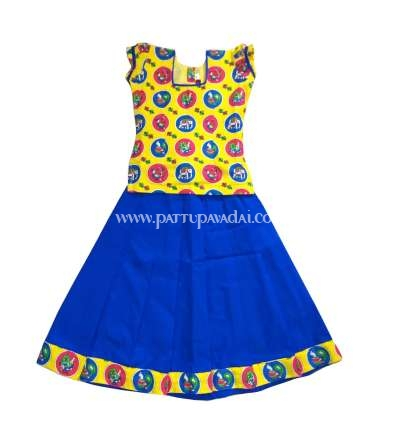 Kalamkari Pavadai Set Blue and Yellow