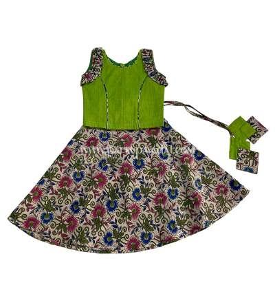 Kalamkari Skirt and Parrot Green Top