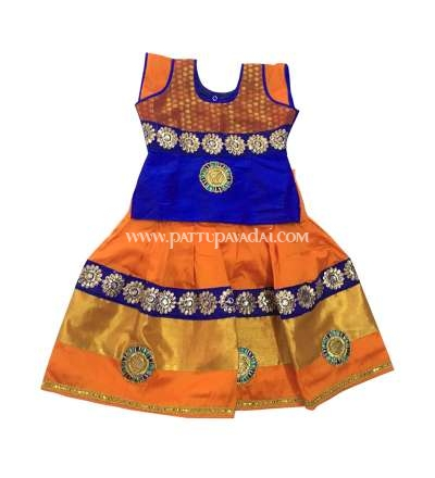 Buy Karishma Kids Fancy Langa Orange and Blue only at pattupavadai.com