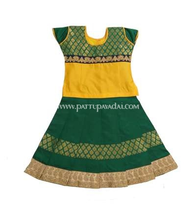 Ready to wear  Karishma Kids Fancy Langa Yellow and Green