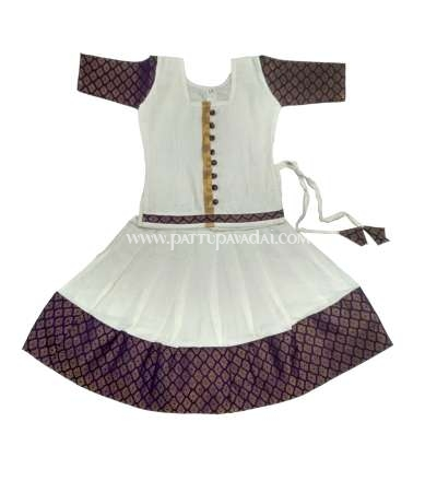 Kerala Pattu Pavadai Purple and Cream