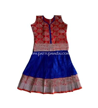 Kids Art Silk Pavadai Blue