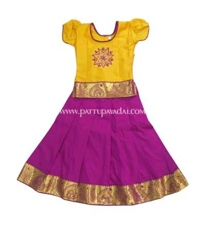 Kids Embroidery Pavadai Yellow and Magenta