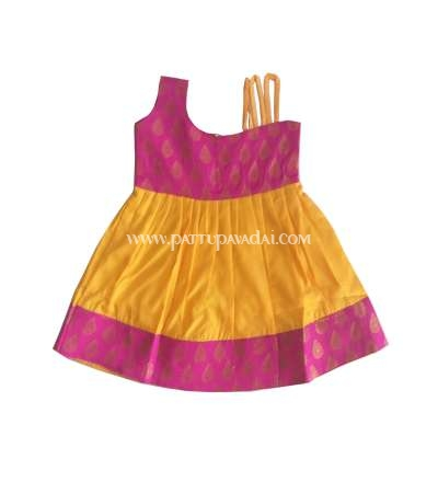 Kids Frock Baby Pink and Yellow