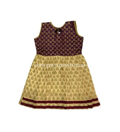 Kids Frock Brown and Cream