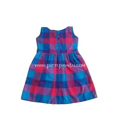 Pure Cotton Kids Frock Checked Blue