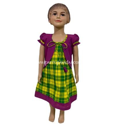 Pure Cotton Kids Frock Checked Green