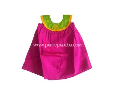 Kids Frock Magenta and Parrot Green