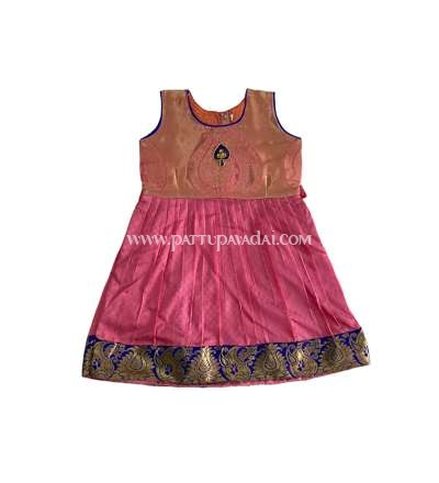 Kids Frock Pink and Golden