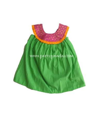 Kids Frock Pink and Parrot Green