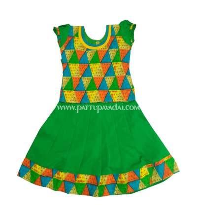 Kids Green and Multi Color Pavadai Sattai