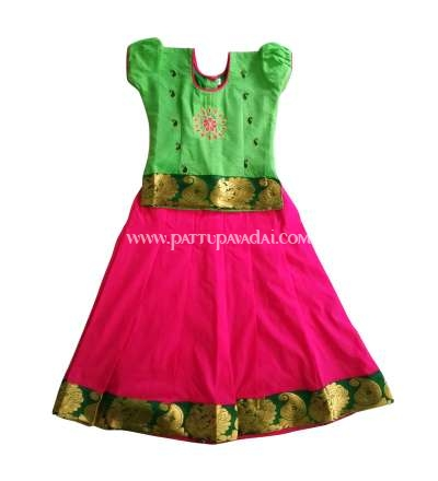 Kids Green and Pink Embroidery Pavadai