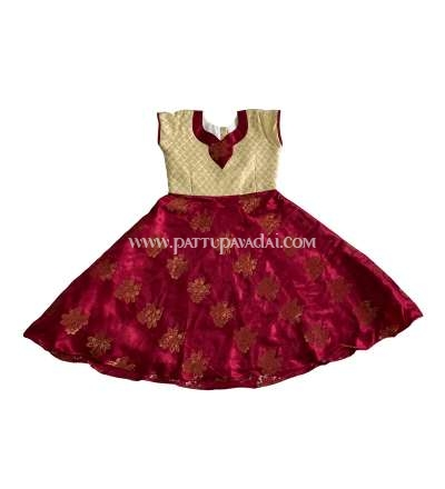 Kids Long Gown Cream and Maroon