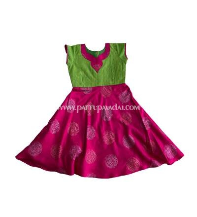 Kids Long Gown Pink and Parrot Green