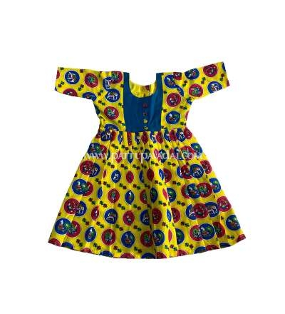 Kids Long Gown Yellow and Blue