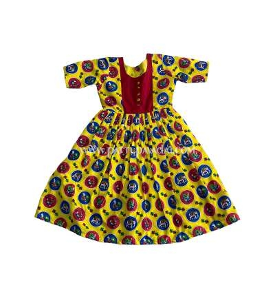 Kids Long Gown Yellow and Red