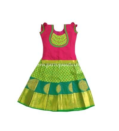 Kids Parrot Green and Pink Pure Silk Pavadai