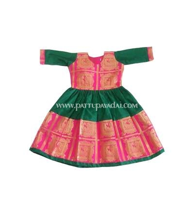Kids Pattu Long Gown Green and Pink