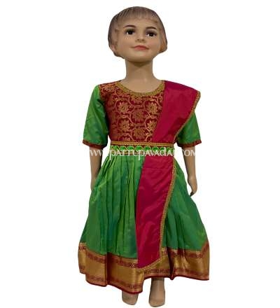 Kids Pattu Long Gown Green and Red