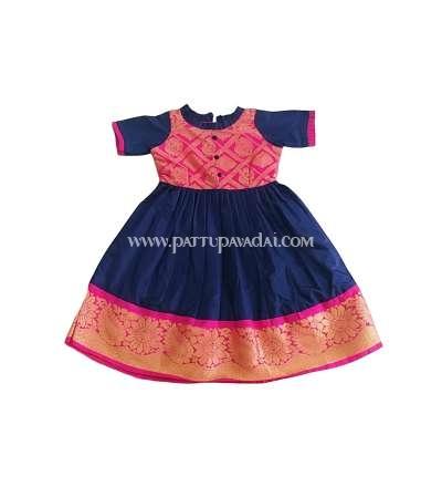 Kids Pattu Long Gown Navy Blue