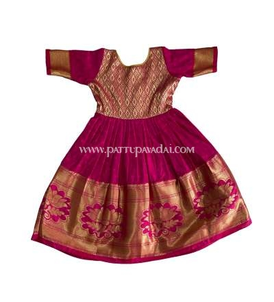 Kids Pattu Long Gown Pink and Golden