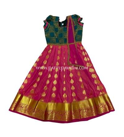 Kids Pattu Long Gown Pink and Green