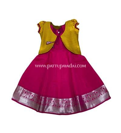Kids Pattu Long Gown Pink