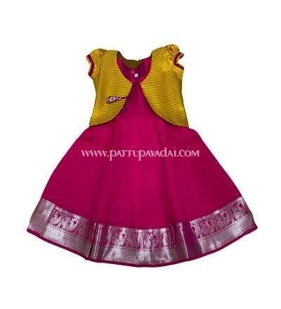 Kids Pattu Long Gown Pink