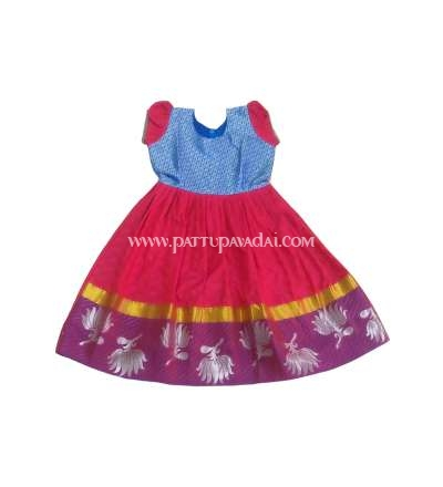 Kids Pattu Long Gown Red and Blue