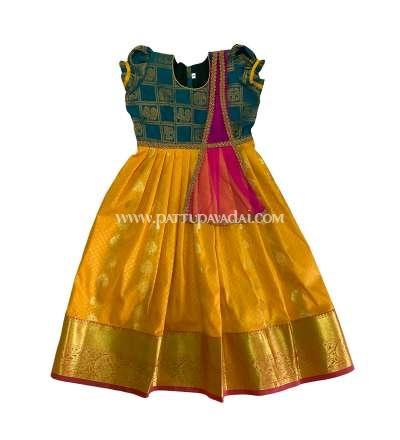 Kids Pattu Long Gown Yellow and Green
