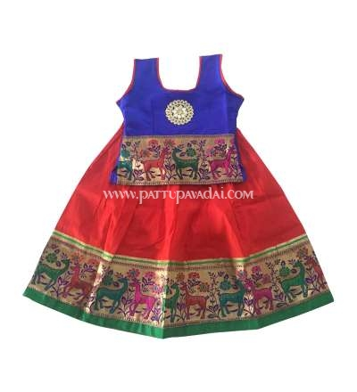Kids Pattu Pavadai Deer Border Blue and Red