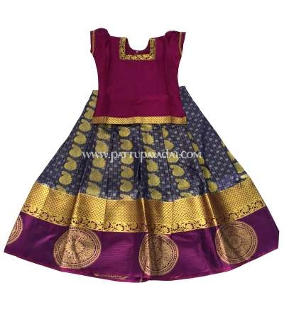 Readymade Kids Pattu Pavadai Grey and Magenta