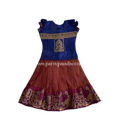 Kids Pattu Pavadai Navy Blue and Brown