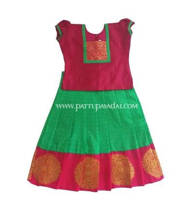 Silk Pavadai parrot green and Pink, traditional kids wear