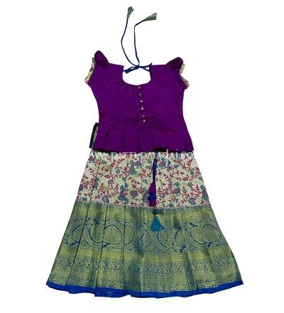 Kids Pattu Pavadai Peacock Blue and Magenta